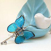 Украшения handmade. Livemaster - original item Transparent Pendant Key Blue Butterfly Vintage Key on a Chain Boho. Handmade.