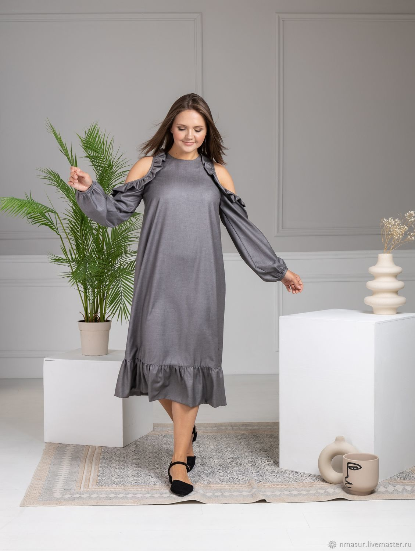 Grey Dress with frill, Dresses, Novosibirsk,  Фото №1