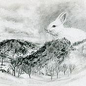 Картины и панно ручной работы. Ярмарка Мастеров - ручная работа Зимний кролик. Handmade.
