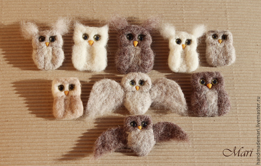 and brooches made of wool, Brooches, Moscow,  Фото №1