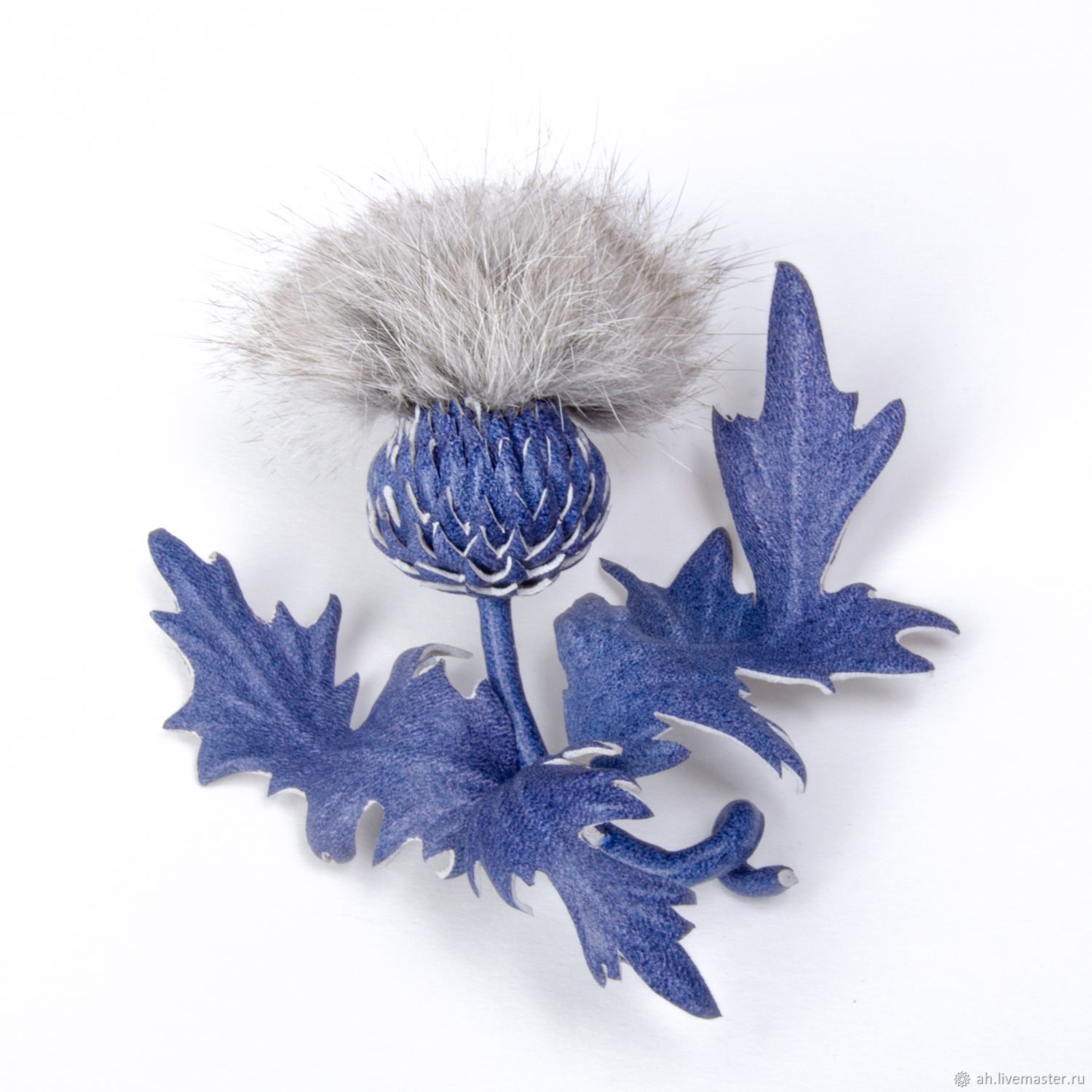 Brooch Thistles made of leather and fur, Brooches, Tver,  Фото №1