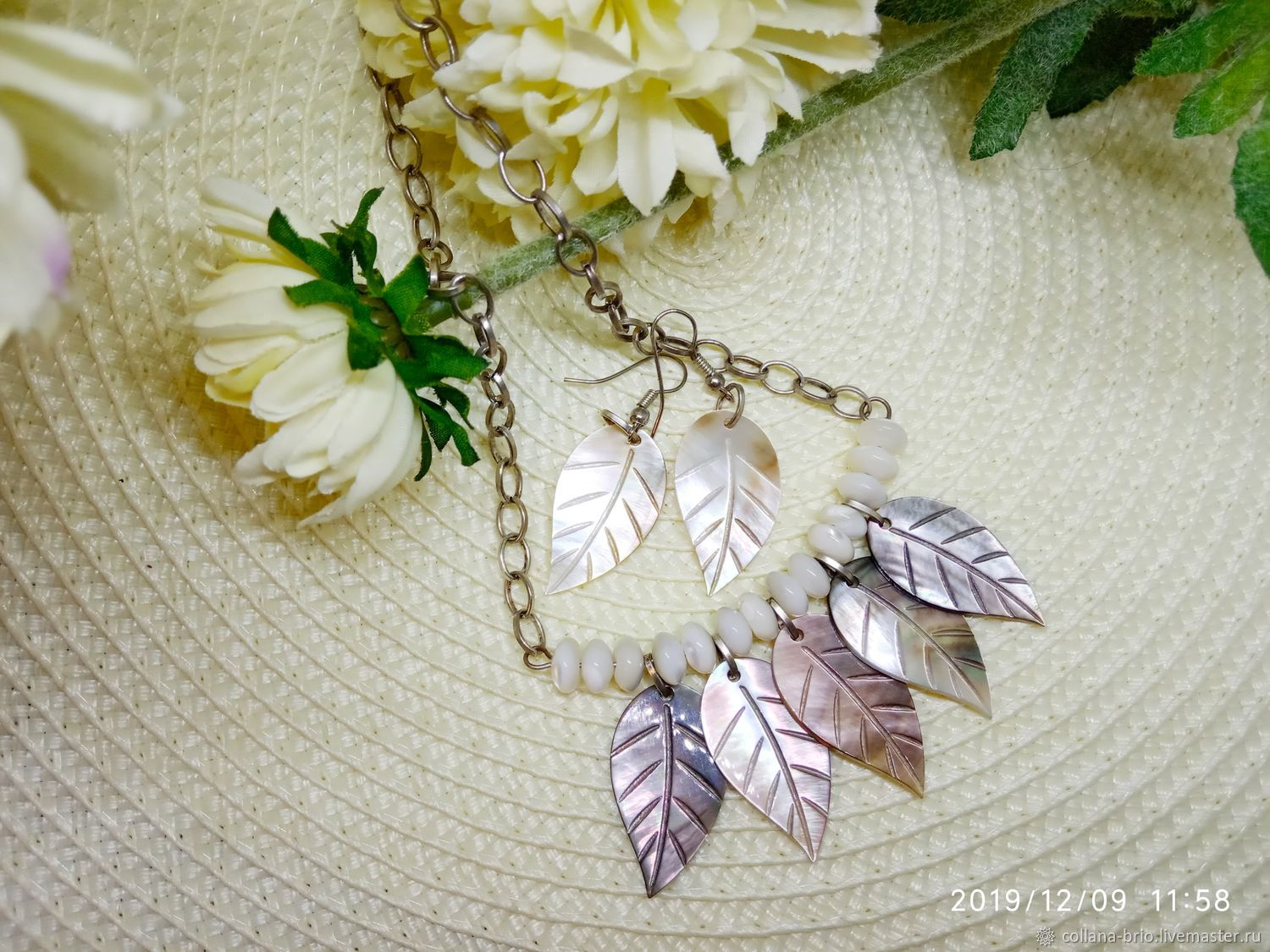 Necklace Earrings 'Cool August' mother of Pearl, Necklace, Samara,  Фото №1