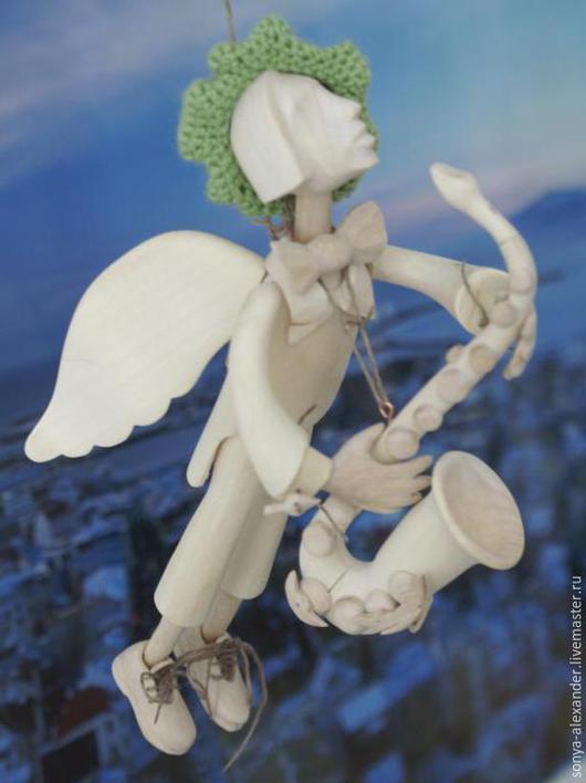 Коллекционные куклы ручной работы. Ярмарка Мастеров - ручная работа. Купить Ангел парящий с саксофоном. Handmade. Разноцветный, ангел-хранитель