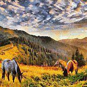 Картины и панно ручной работы. Ярмарка Мастеров - ручная работа На лугу 60х40см, пейзаж, сюжетная картина, живопись. Handmade.
