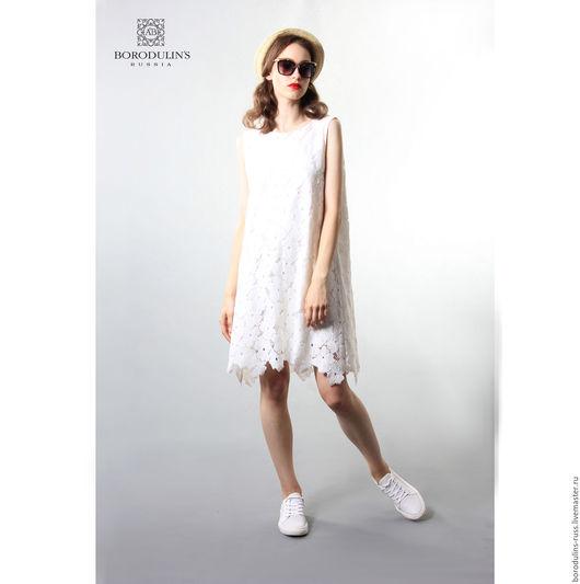 """Платья ручной работы. Ярмарка Мастеров - ручная работа. Купить Платье""""Летняя прогулка"""". Handmade. Белый, кроткое платье, хлопок100%"""