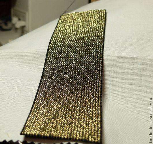 Шитье ручной работы. Ярмарка Мастеров - ручная работа. Купить Резинка черная с золотой нитью 5см. Handmade. Золотой