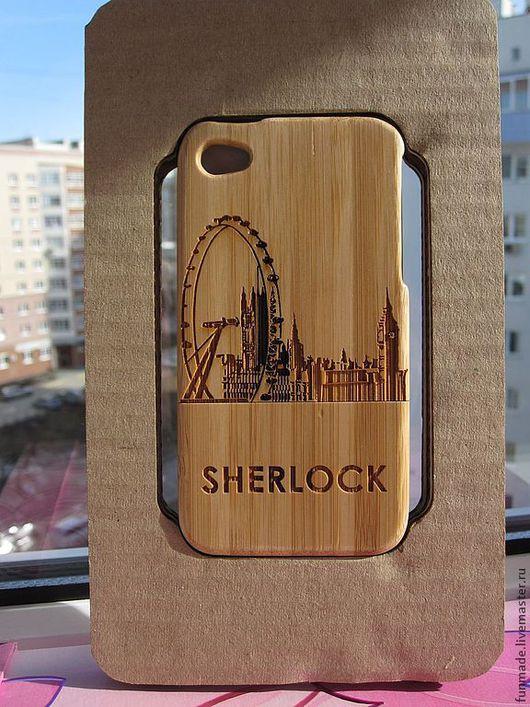 Для телефонов ручной работы. Ярмарка Мастеров - ручная работа. Купить Чехол для iphone 4,4S из бамбука Шерлок. Handmade.