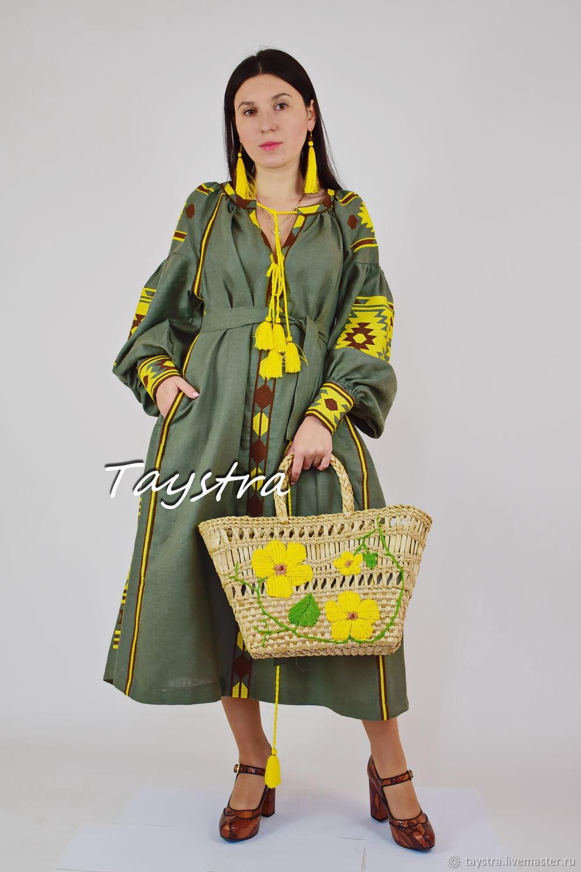 Embroidered dress Bohemian Vyshyvanka Dress olive, Dresses, Chernovtsy,  Фото №1