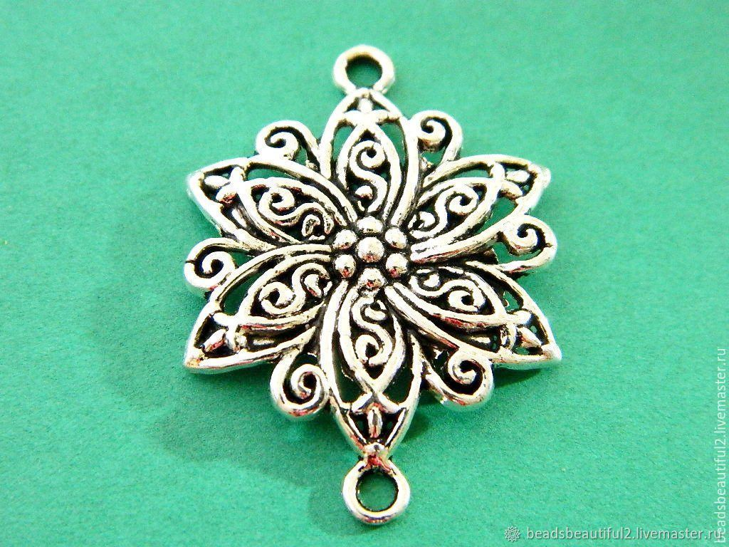 Connector delicate Flower, antique silver, 40 x 30mm, Beads1, Saratov,  Фото №1