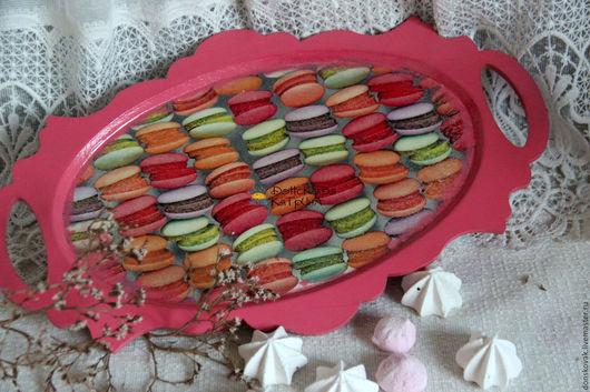 """Кухня ручной работы. Ярмарка Мастеров - ручная работа. Купить Поднос для сладостей """"Макаруны"""". Handmade. Розовый, для интерьера, для дома и интерьера"""