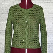 Одежда handmade. Livemaster - original item Cashmere Merino viscose. Jacket olive Green handmade crochet. Handmade.