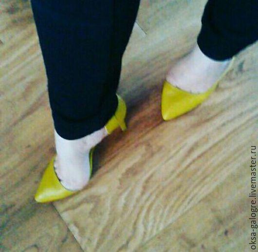 Обувь ручной работы. Ярмарка Мастеров - ручная работа. Купить Женские туфли. Handmade. Желтый, обувь на заказ, современный стиль