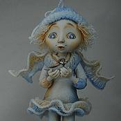"""Куклы и игрушки ручной работы. Ярмарка Мастеров - ручная работа """"Зимний ангел с птичкой"""". Handmade."""