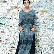 Одежда ручной работы. Ярмарка Мастеров - ручная работа Теплое бохо платье из трикотажа длины миди. Handmade.