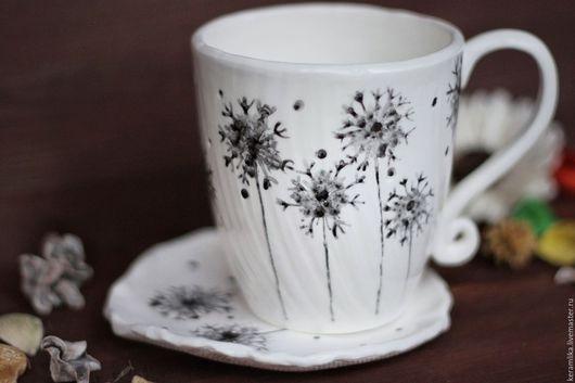"""Сервизы, чайные пары ручной работы. Ярмарка Мастеров - ручная работа. Купить Чайный набор """"Одуванчики"""". Handmade. Чёрно-белый"""