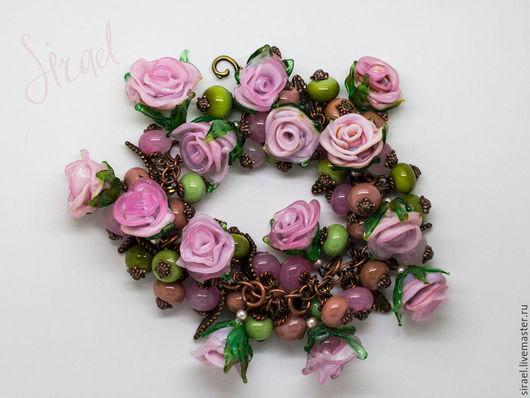 Браслеты ручной работы. Ярмарка Мастеров - ручная работа. Купить Принцесса Монако, браслет лэмпворк. Handmade. Розовый, браслет из роз