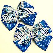 """Украшения ручной работы. Ярмарка Мастеров - ручная работа Бантики для волос """"Гжель""""  в голубом цвете. Handmade."""