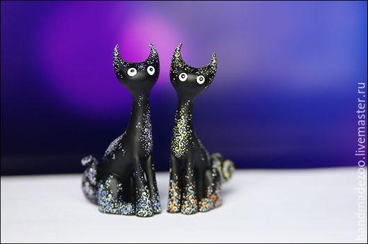 Персональные подарки ручной работы. Ярмарка Мастеров - ручная работа. Купить Полуночные кошки. Handmade. Черный, sculpey