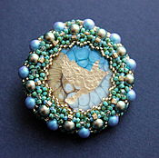 Украшения handmade. Livemaster - original item Brooch made of beads with pearls golden bird. Handmade.