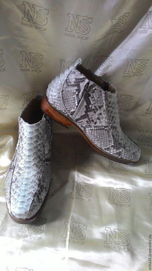 Обувь ручной работы. Ярмарка Мастеров - ручная работа. Купить Сапоги из питона. Handmade. Серый, обувь из питона, кожа питона
