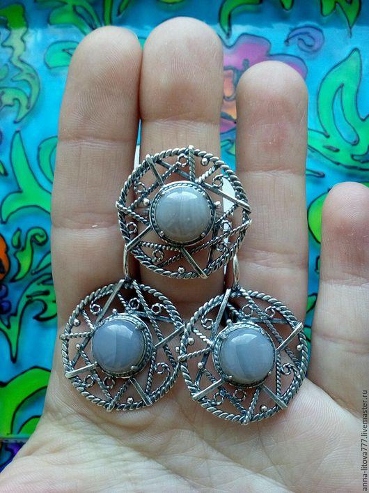 Комплекты украшений ручной работы. Ярмарка Мастеров - ручная работа. Купить 122 Комплект серебрение серьги и кольцо с камнями. Handmade.