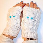 Аксессуары handmade. Livemaster - original item Knitted short fingerless gloves with owls (ISS). Handmade.