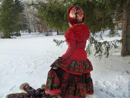 Этническая одежда ручной работы. Ярмарка Мастеров - ручная работа. Купить Зимнее очарование этноса. Handmade. Бордовый, бохо стиль