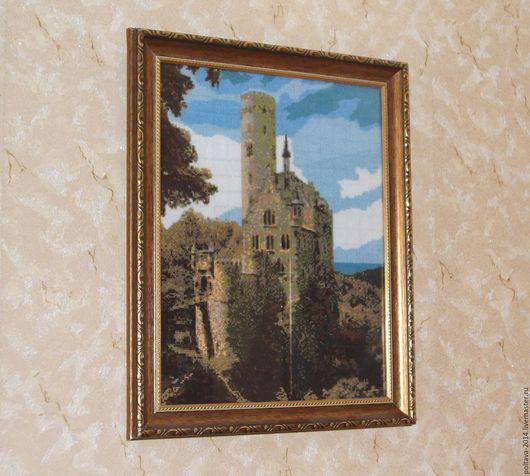 """Пейзаж ручной работы. Ярмарка Мастеров - ручная работа. Купить Вышитая крестиком картина """"Замок Лихтенштейн"""". Handmade. Замок, небо"""