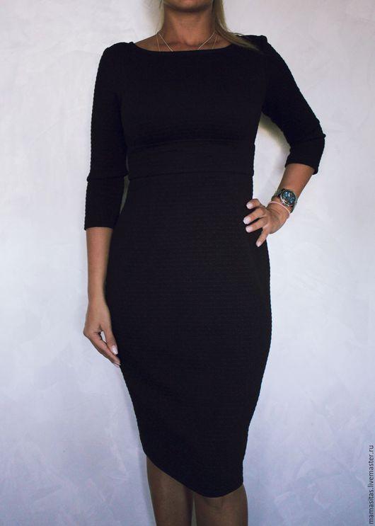 Платья ручной работы. Ярмарка Мастеров - ручная работа. Купить Платье из эластичного жаккарда чёрное. Handmade. Черный, платье повседневное