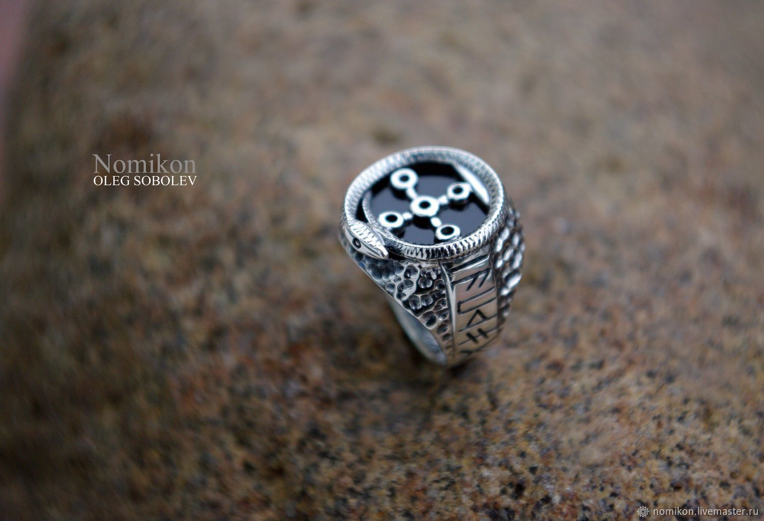 Silver finger-ring with black agate - Snake Chamber, Ring, St. Petersburg,  Фото №1