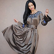 Одежда handmade. Livemaster - original item Elegant satin dress with embroidery
