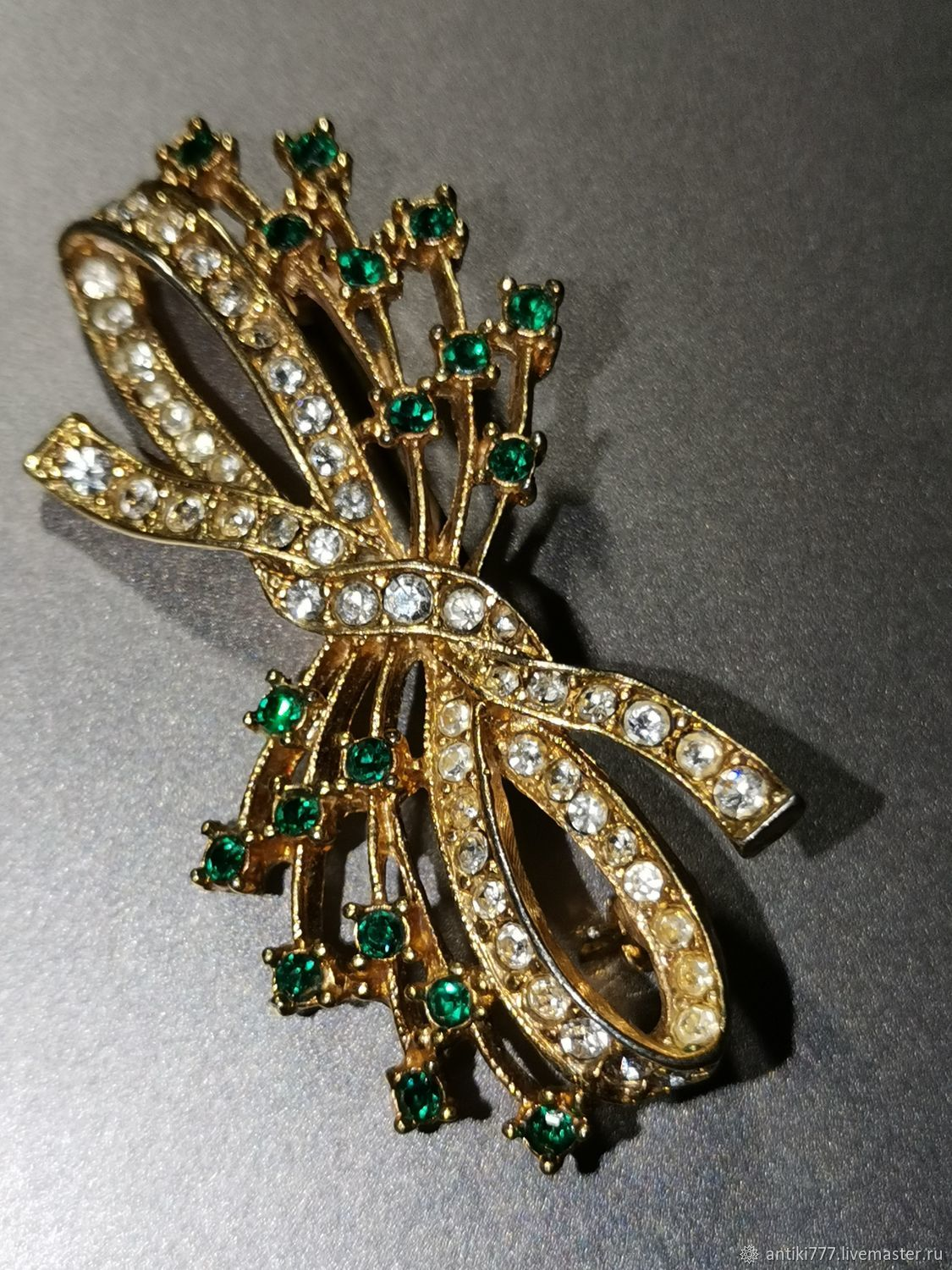 Vintage brooch with green crystals!, Vintage brooches, Moscow,  Фото №1