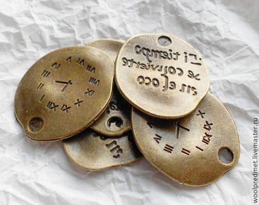 """Для украшений ручной работы. Ярмарка Мастеров - ручная работа. Купить подвеска """"Часы с надписью"""". Handmade. Подвеска часы, сплав"""
