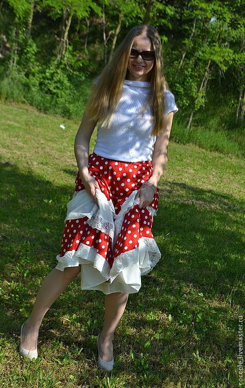 """Юбки ручной работы. Ярмарка Мастеров - ручная работа. Купить """"Галочка"""" длинная юбка в горошек.. Handmade. Юбка в горошек"""