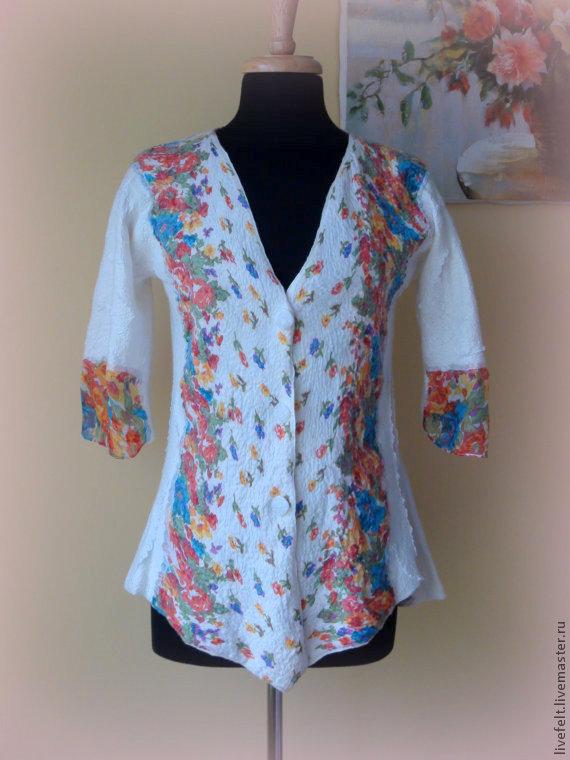 """Пиджаки, жакеты ручной работы. Ярмарка Мастеров - ручная работа. Купить Валяный пиджак  """"Цветочный"""" белый. Handmade. Белый, цветочный"""