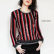 Одежда handmade. Livemaster - original item Women`s striped sweater with sequins. Handmade.