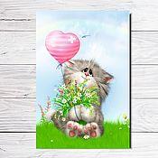 """Открытки ручной работы. Ярмарка Мастеров - ручная работа Открытка для посткроссинга """"Котик с шариком"""". Handmade."""