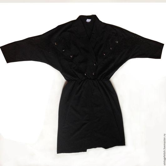 """Одежда. Ярмарка Мастеров - ручная работа. Купить Винтажное платье 1980-х годов с рукавами """"летучая мышь"""". Handmade. Черный"""