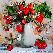 """Картины и панно ручной работы. Ярмарка Мастеров - ручная работа картина вышитая лентами """"Хочу клубники)"""". Handmade."""