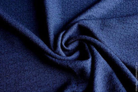 Шитье ручной работы. Ярмарка Мастеров - ручная работа. Купить 39301 фактурная костюмно-плательная ткань. Handmade. Тёмно-синий