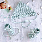 Работы для детей, handmade. Livemaster - original item Winter knitted set of beanie and booties for boy grey. Handmade.