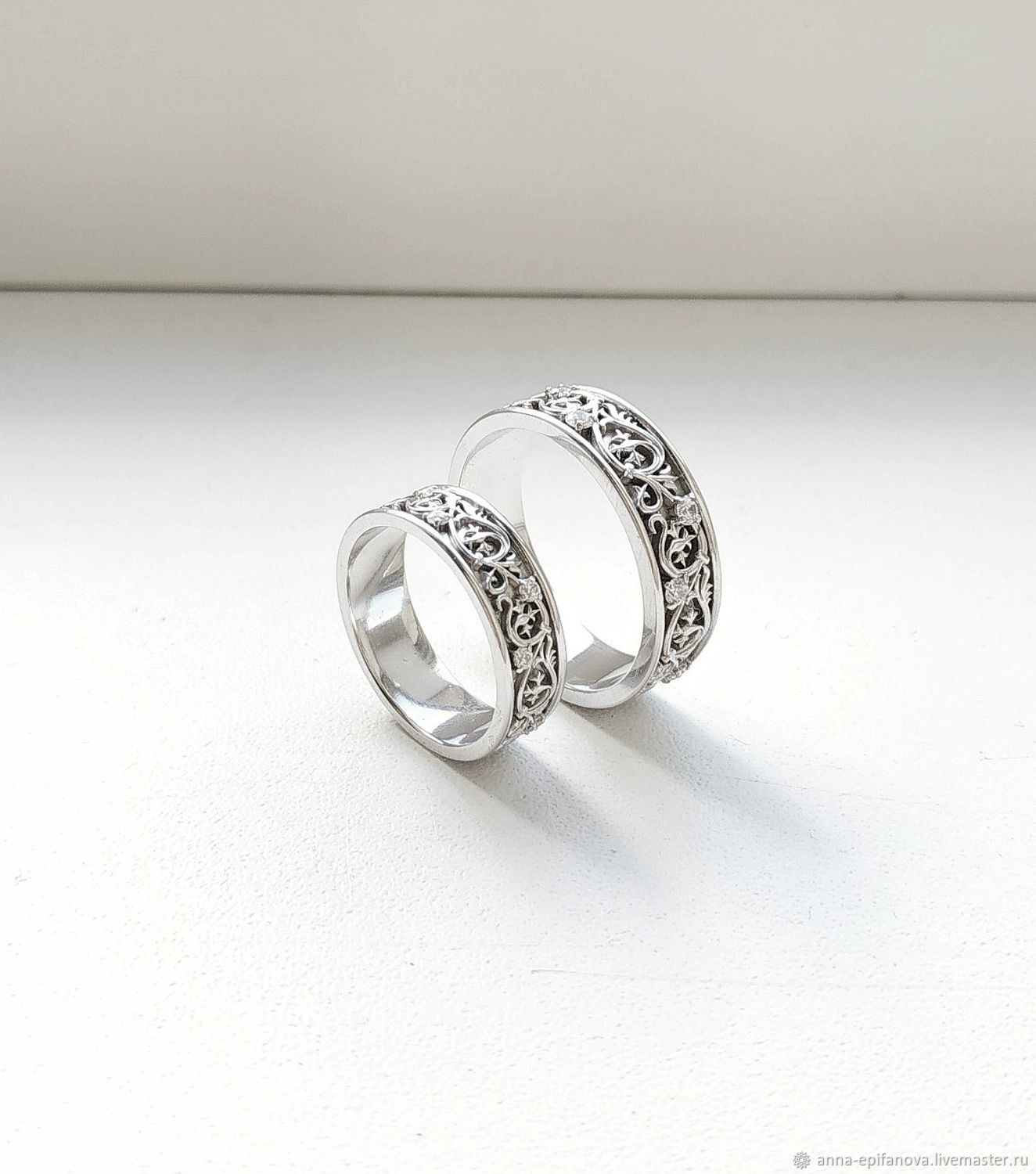 Paired wedding rings with patterns, silver (Ob18), Engagement rings, Chelyabinsk,  Фото №1