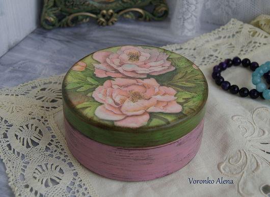 Шкатулки ручной работы. Ярмарка Мастеров - ручная работа. Купить Шкатулка для хранения, Букетик роз. Handmade. Зеленый, розовый цвет