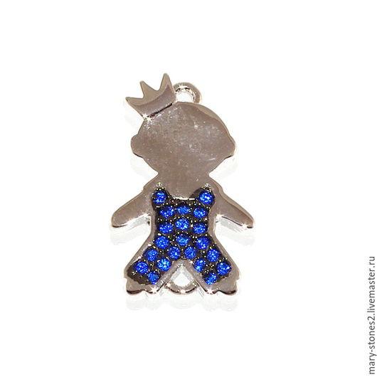 Для украшений ручной работы. Ярмарка Мастеров - ручная работа. Купить Коннектор принц с синими фианитами, серебро. Handmade.