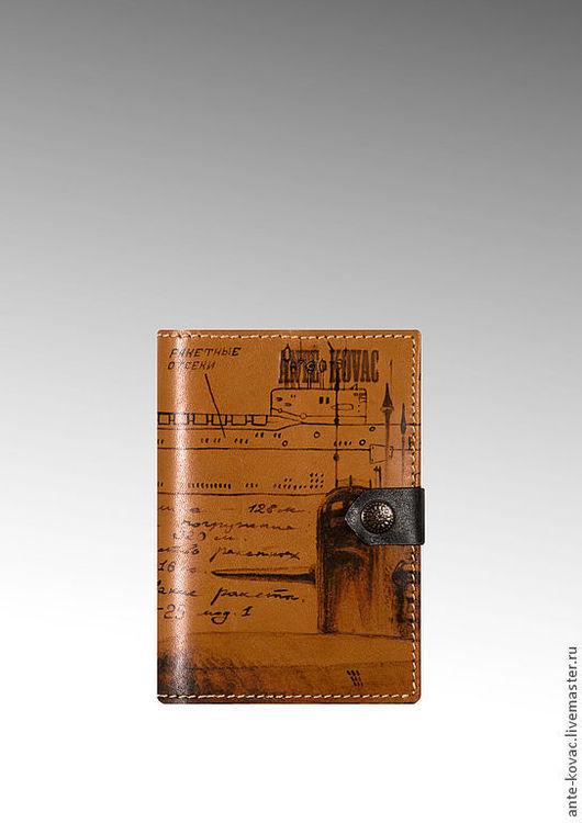 """Футляры, очечники ручной работы. Ярмарка Мастеров - ручная работа. Купить Обложка для документов """"Проект 667-А"""" в охре. Handmade."""