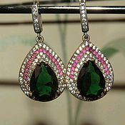 Earrings handmade. Livemaster - original item Luxurious earrings made of silver 925 with quartz, rubies, zircons. Handmade.