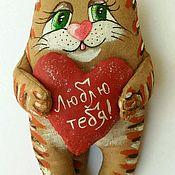 Мягкие игрушки ручной работы. Ярмарка Мастеров - ручная работа Влюблённый котик. Кофейный позитив.. Handmade.
