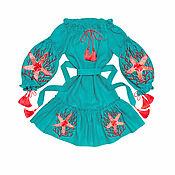 "Одежда handmade. Livemaster - original item Short off the shoulder dress ""Sea Elegy"". Handmade."