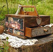 """Для дома и интерьера ручной работы. Ярмарка Мастеров - ручная работа Шкатулка для рукоделия """"Книжные коты"""". Handmade."""