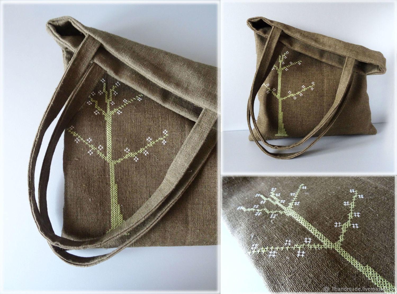 """Эко-сумка из мешковины """"Дерево"""" - ручная вышивка, авоська"""